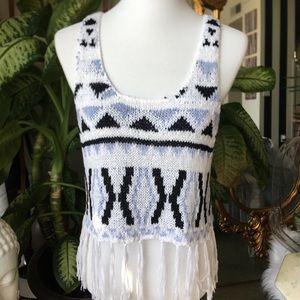 BNWT Knit Aztec Print Tassel Tank Top Sabo Skirt
